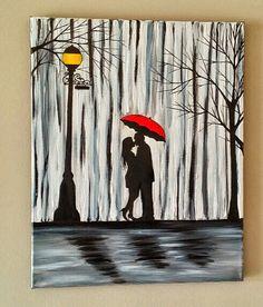 SALE Original Couple in rain painting Couple by ArtByRangrez