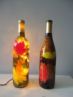 Fall hand painted wine bottle lamp