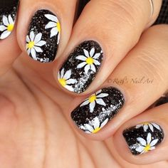 "Daisy Nails over ""Metallic 4 Life"" by OPI. #ruthsnailart #nailart"