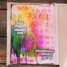 "packerdi:  Finished our first assignment with the Art Journal Emporium book club. We're reading through Dina Wakelys ""Art Journal Courage"". This is page about putting the smack down on all of those negative voices in your head and I have lots.  #iamanartistyesiam #believeinyourself #artjournalemporium #artjournal #artjournaling #journal #journaling #mixedmedia #paint #dylusions #workingonbeingtruetome"