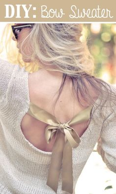 DIY bow sweater - check out my other pins as guest pinner for @FaveCrafts this month #fallfashion