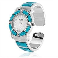 Bling Jewelry Bora Turquoise Watch Cuff Inlay Style with Crystal Accents