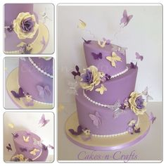 3 tier topsy turvy wedding cake  - Lilac and cream wedding cake hand carved with sugar roses and butterflies