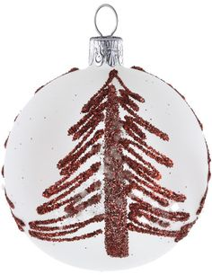 David Jones - Christmas Shop White Bauble With Red Tree