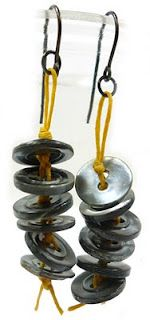 ladder button earrings