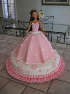 Pink barbie cake - My first fondant cake. Had a lot of fun!