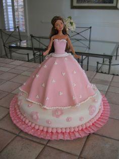 Pink barbie cake - My first fondant cake. Had a lot of fun!