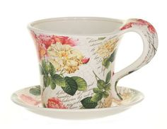 Vintage English Rose teacups for the garden!