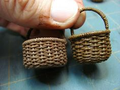 Dollhouse Miniature Furniture - Tutorials | 1 inch minis: Weaving a Basket with Crochet Thread Tutorial - How to weave a basket using painte...