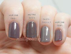 COMP: Essie-Merino Cool vs. $OPI-Metro Chic vs. Essie-Chinchilly / NailSpotting