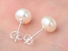 Freshwater White Pearl Silver Plated Stud Earrings | Bridle Bling Equestrian Jewelry, Western Pleasure, Silver Pearls, Pearl White, Fresh Water, Belly Button Rings, Silver Plate, Plating, Stud Earrings