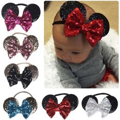 Details about Minnie Mouse Ears Bow Sequin Headband Hair Band Girl Mickey Party Fancy Dress Diy Disney Ears, Disney Mickey Ears, Minnie Mouse Bow, Disney Diy, Minnie Mouse Headband, Diy Hair Bows, Diy Bow, Unique Hair Bows, Miki Mouse