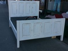 queen size bed made from old doors