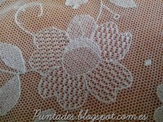 Puntades: Bordado en tul Tambour Embroidery, Types Of Embroidery, White Embroidery, Embroidered Lace, Embroidery Applique, Embroidery Stitches, Needle Lace, Bobbin Lace, Bordado Popular