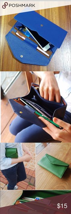 Blue PU leather clutch wallet. Candy Color Women Clutch Purse Hasp Design Handbag Letter Ladies Wallet For Female PU Leather Long Wallets Envelope Wallet. To buy a few items together for one shipping label (up to 5 lbs), please add it to bundle. Bags Wallets