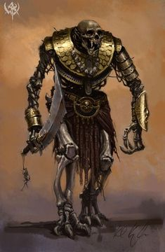 Armoured skeleton with a curved sword and old armour. WAR_concept_apr09-08.jpg (425×650)