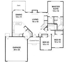 Plan # 1439 - Ranch | First floor plan. Cool stairs that turn slightly