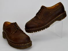 Vintage Dr Martens Men's US 11 Solid Brown Brogue Leather Wingtip Oxfords UK 10 #DrMartens #Oxfords