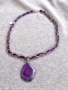 Purple Agate Slice Pendant Necklace  | SunCreations - Jewelry on ArtFire