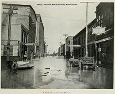 Alton, Illinois - 1903 Flood. A street close to the river front.