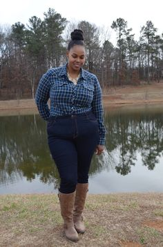 Comfy holiday look with a hint of glam, perfect for shopping and family time. Rockstar Jeans, Wide Calf Boots, Holiday Looks, Holiday Fashion, Lucky Brand, Ootd, Plaid, Comfy, Tartan