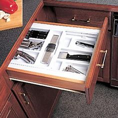 Knape & Vogt - Double-Tiered Cutlery Drawer Insert - - Home Depot Canada Cutlery Drawer Insert, Drawer Inserts, Hardware Organizer, Cabinet Hardware, Kitchen Cabinet Organization, Home Organization, Remodeling Mobile Homes, Home Remodeling, Cheap Mobile Homes