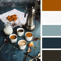 Color Palette No. Nice palette for living room. Navy with the leather color and neutrals. Living Room Color Schemes, Living Room Grey, Colour Schemes, Blue And Brown Living Room, Living Rooms, Paint Schemes, Apartment Living, Color Combinations, Room Colors