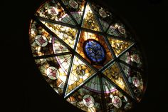 """""""Circle of Color"""" A stained glass window located in a church in Warren, Indiana. I believe she said it was built in 1925."""