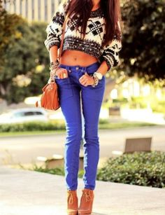 Blue #Pants from styletracker-na.tumblr.com lovee the sweater!