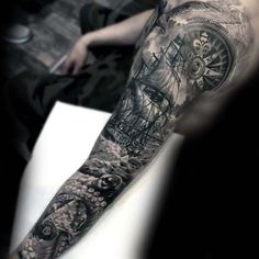 Incredible Mens Shaded Sailing Ship With Kraken Nautical Sleeve Tattoo