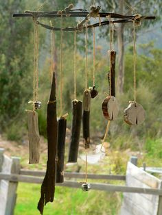 Wind chimes with natural materials