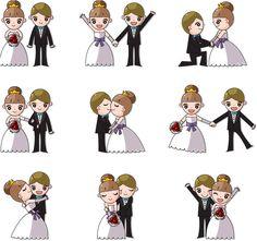 Cute wedding couples vector