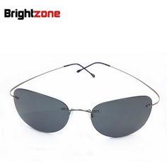 (26.99$)  Watch more here - http://aiyz6.worlditems.win/all/product.php?id=32790419436 - 2017 New Ultra-light Rimless Sunglasses Memory Pure Titanium Rim Polarized Sunglasses Classic e Large Sun Glasses Eye Anti-UVA