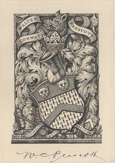 Armorial Bookplate of Walter Conway Prescott