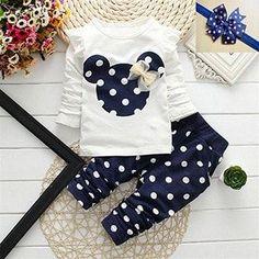Dot Cotton Baby Girl Clothes Set (Pants+T-shirt)