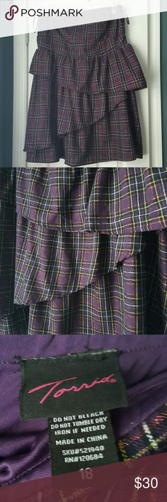 Torrid strapless plaid dress Really cute strapless dress from Torrid. This one has been in my closet for quite some time but it's still new. My intent was to wear it with a little black shrug and blacks heels but it just never happened.  Main color is purple and the aid pattern has white, black, yellow, and metallic red in it. It is a tiered design and has a long zipper in the back.   Brand new, never worn. Price is pretty firm on this one. Torrid Dresses Strapless