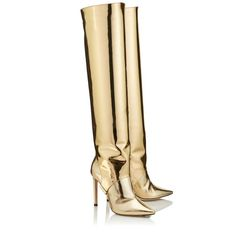 Jimmy Choo - Hurley gold liquid mirror leather two-piece knee high booties (€ Pretty Shoes, Cute Shoes, Me Too Shoes, High Heel Boots, Heeled Boots, Shoe Boots, Gold Boots, Funky Shoes, Hot Heels