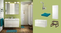 Armario para lavabo GODMORGON/EDEBOVIKEN alto brillo blanco con cuatro cajones y espejo GODMORGON