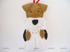 WIRE Fox Terrier perro adornos fieltro navidad ornamento Fox