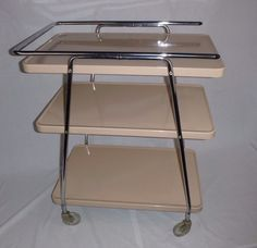 Vtg Mid Century Cosco Atomic 3 Tier Rolling Bar Kitchen Utility Cart Rare  Tan Co #