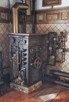Entertainment Discover Soviet Steampunk Boiler (trick out a wood burning stove? Casa Steampunk, Lampe Steampunk, Design Steampunk, Steampunk Interior, Mode Steampunk, Steampunk Furniture, Steampunk Gadgets, Steampunk Cosplay, Steampunk Fashion