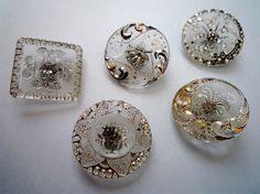 Lot de 5 boutons anciens en verre émaillés argent et or en relief - 19ème siècle in Collections, Costumes, vêtements d'époque, Boutons | eBay