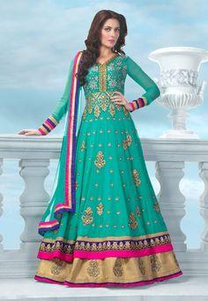 Sea Green Faux Georgette Abaya Style Churidar Kameez Online Shopping: KCR5543