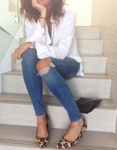 Minimal and classic in a white blouse, skinny jeans & flats…                                                                                                                                                                                 More