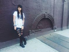 Ripped black jeans, with Nike airforce NYC streets. #camila_monsalve