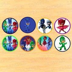 PJ Masks Stickers, topper kids, birthday toppers, pj masks party, pj masks birthday, pj masks topper, disney stickers, Party Instant by PartyInstant on Etsy https://www.etsy.com/listing/256801135/pj-masks-stickers-topper-kids-birthday