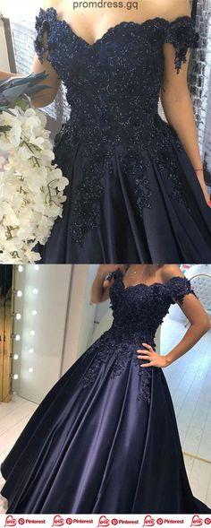 Bleu marine en dentelle fleur sur l épaule robes de bal en satin robes de a271a810c1b2