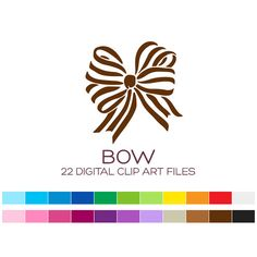 Digital Bow Clipart for Personal & Commercial by coloryourway