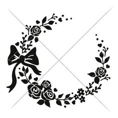 Wreath with bow for Monogram svg png dxf eps
