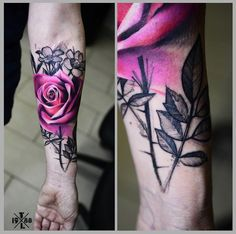 Amazing Rose Tattoo by Timur Lysenko #InkedMagazine #rose #tattoo #art #floral